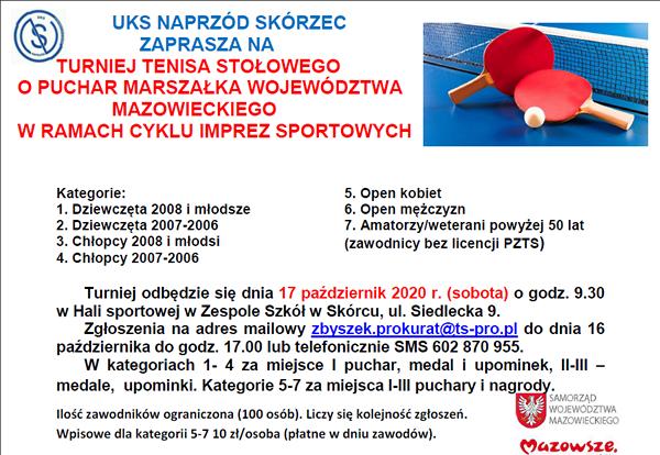 Plakat turnieju Puchar Marszałka Województwa Mazowieckiego Skórzec 2020