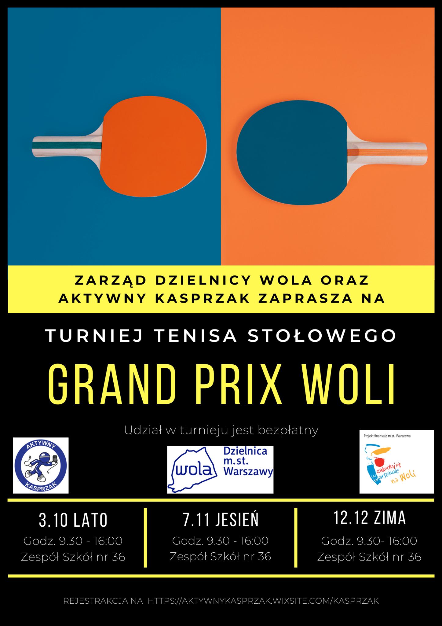 Plakat turnieju Grand Prix Woli 2020 - jesień