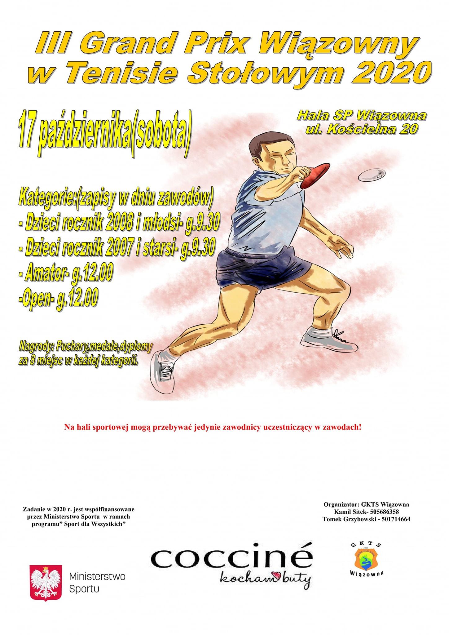 Plakat turnieju III Grand Prix Wiązowny w Tenisie Stołowym 2020