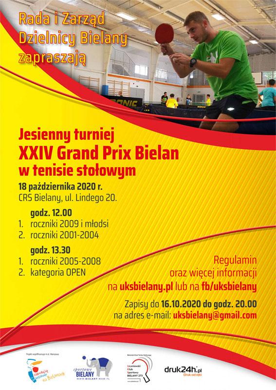 Plakat turnieju XXIV Grand Prix Bielan w Tenisie Stołowym - jesienny turniej 2020