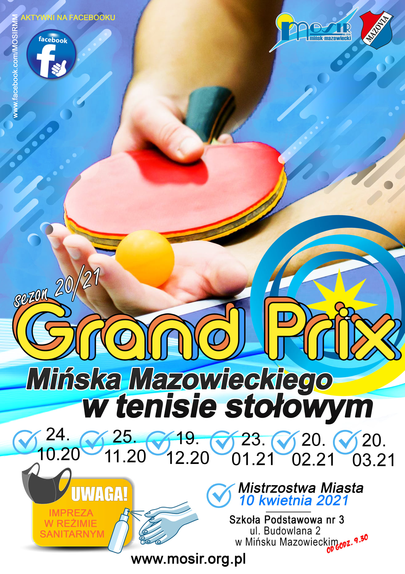 Plakat turnieju Grand Prix Mińska Mazowieckiego w tenisie stołowym w sezonie 2020/2021 - termin 2