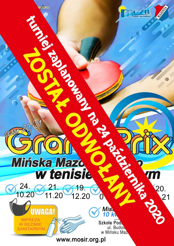 Plakat turnieju Grand Prix Mińska Mazowieckiego w tenisie stołowym w sezonie 2020/2021 - termin 1