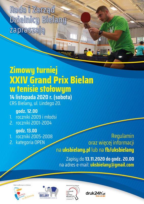 Plakat turnieju XXIV Grand Prix Bielan w Tenisie Stołowym - zimowy turniej 2020
