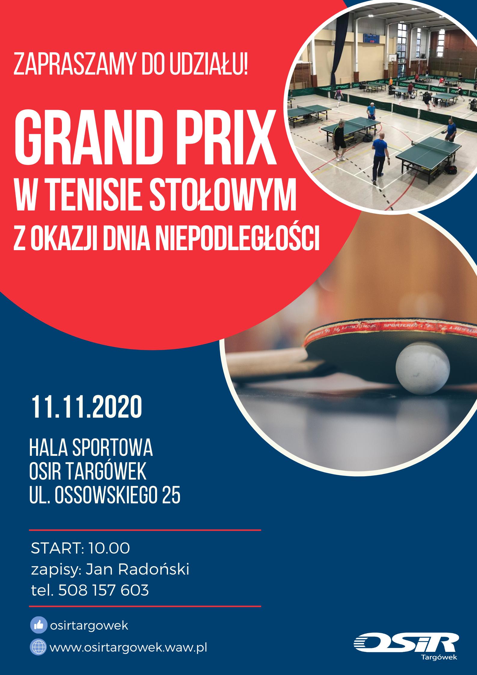 Plakat turnieju Turniej tenisa stołowego z okazji Dnia Niepodległości 2020