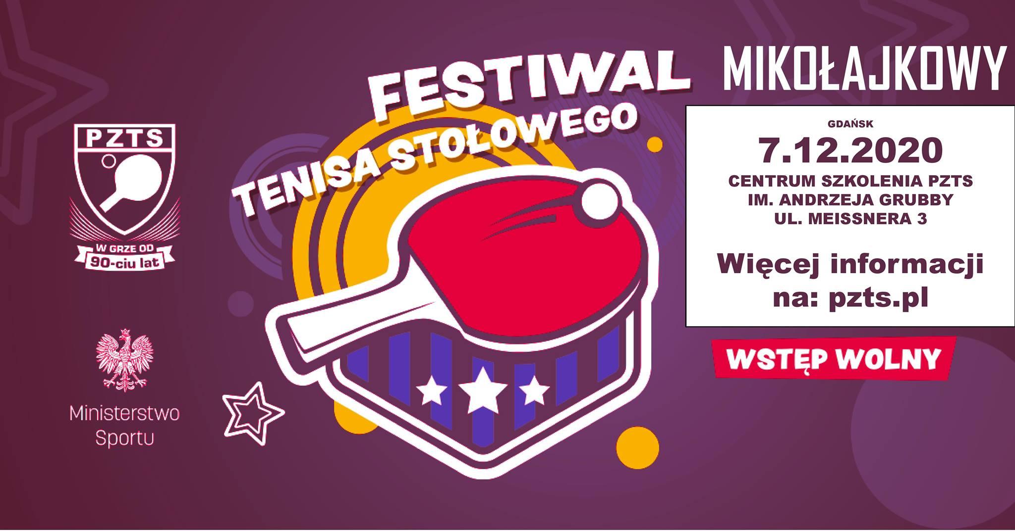 """Plakat turnieju """"MIKOŁAJKOWY"""" Festiwal Tenisa Stołowego 2020"""