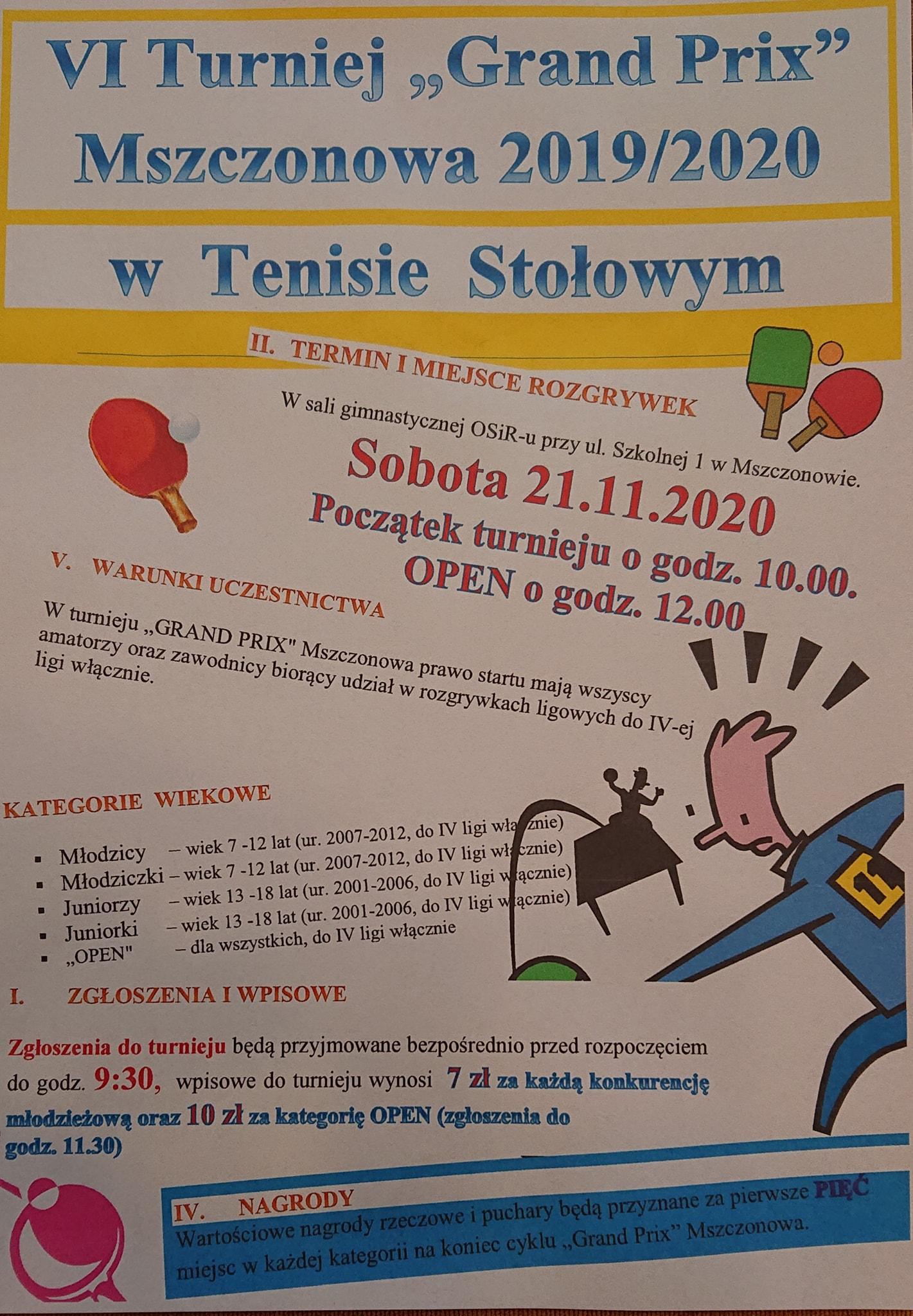 Plakat turnieju VI GRAND PRIX Mszczonowa 2019/2020