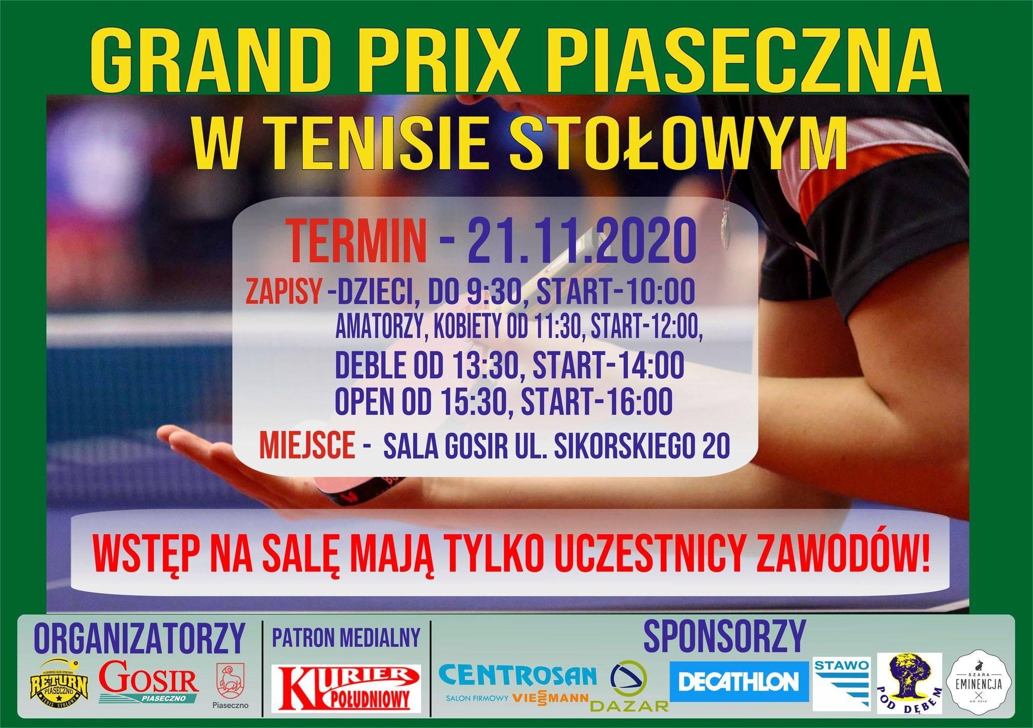 Plakat turnieju Grand Prix Piaseczna w tenisie stołowym 2019/2020 - IX Turniej