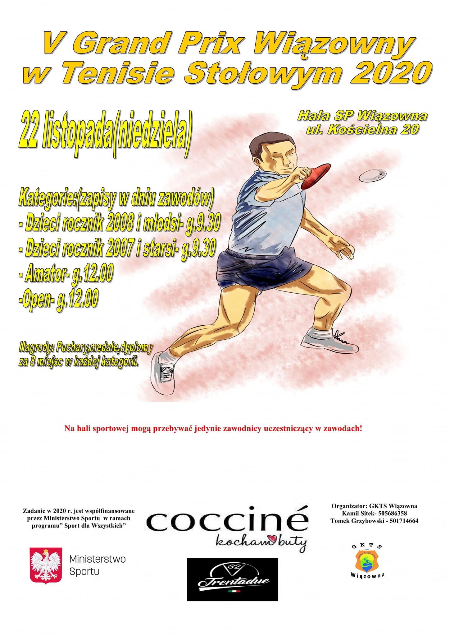 Plakat turnieju V Grand Prix Wiązowny w Tenisie Stołowym 2020