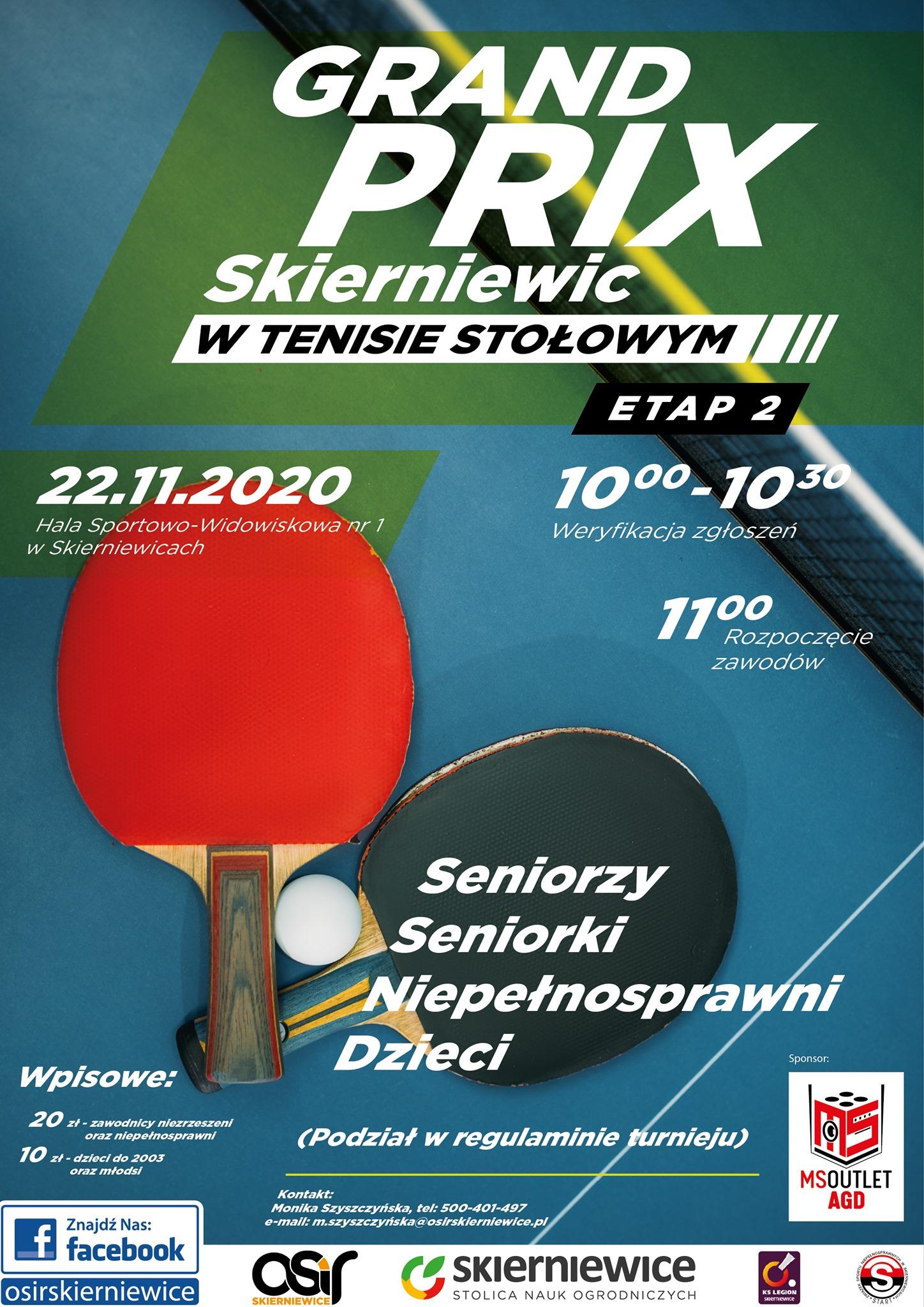 Plakat turnieju GRAND PRIX SKIERNIEWIC 2020 W TENISIE STOŁOWYM II ETAP