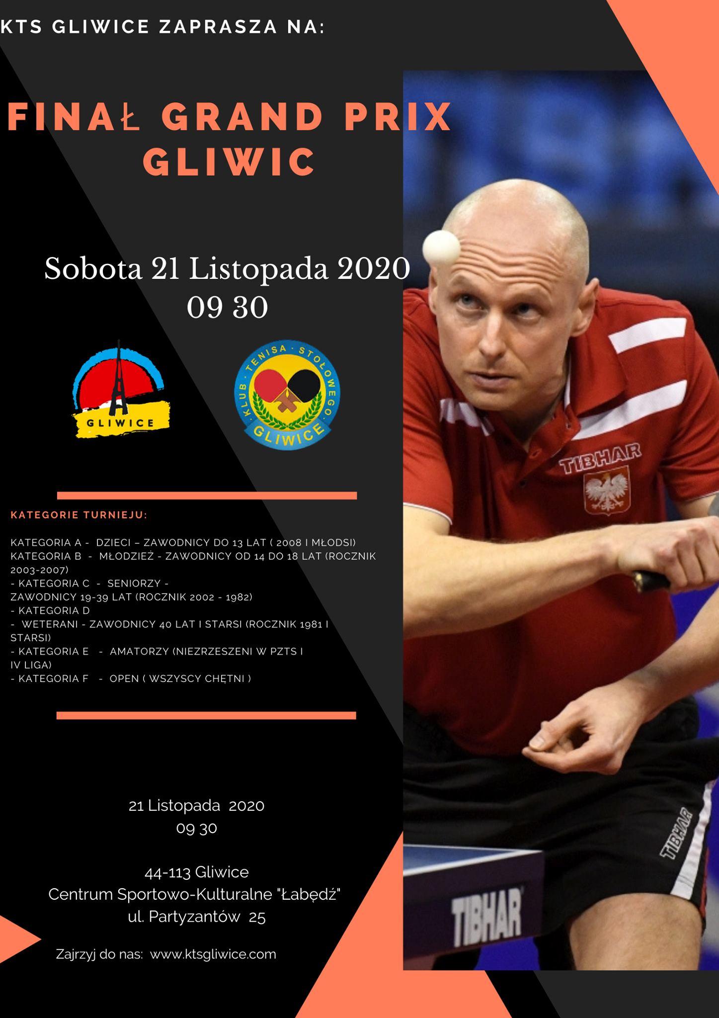 Plakat turnieju VI Grand Prix Gliwic w Tenisie Stołowym- FINAŁ