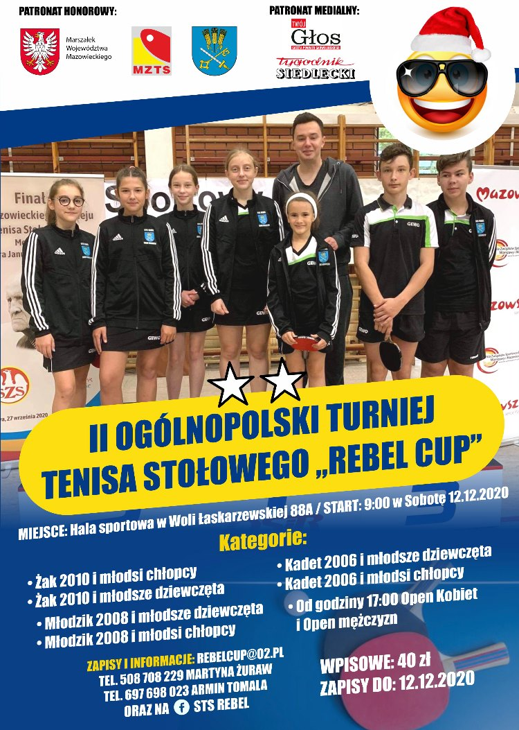 """Plakat turnieju II OGÓLNOPOLSKI Turniej Tenisa Stołowego """"REBEL CUP"""""""