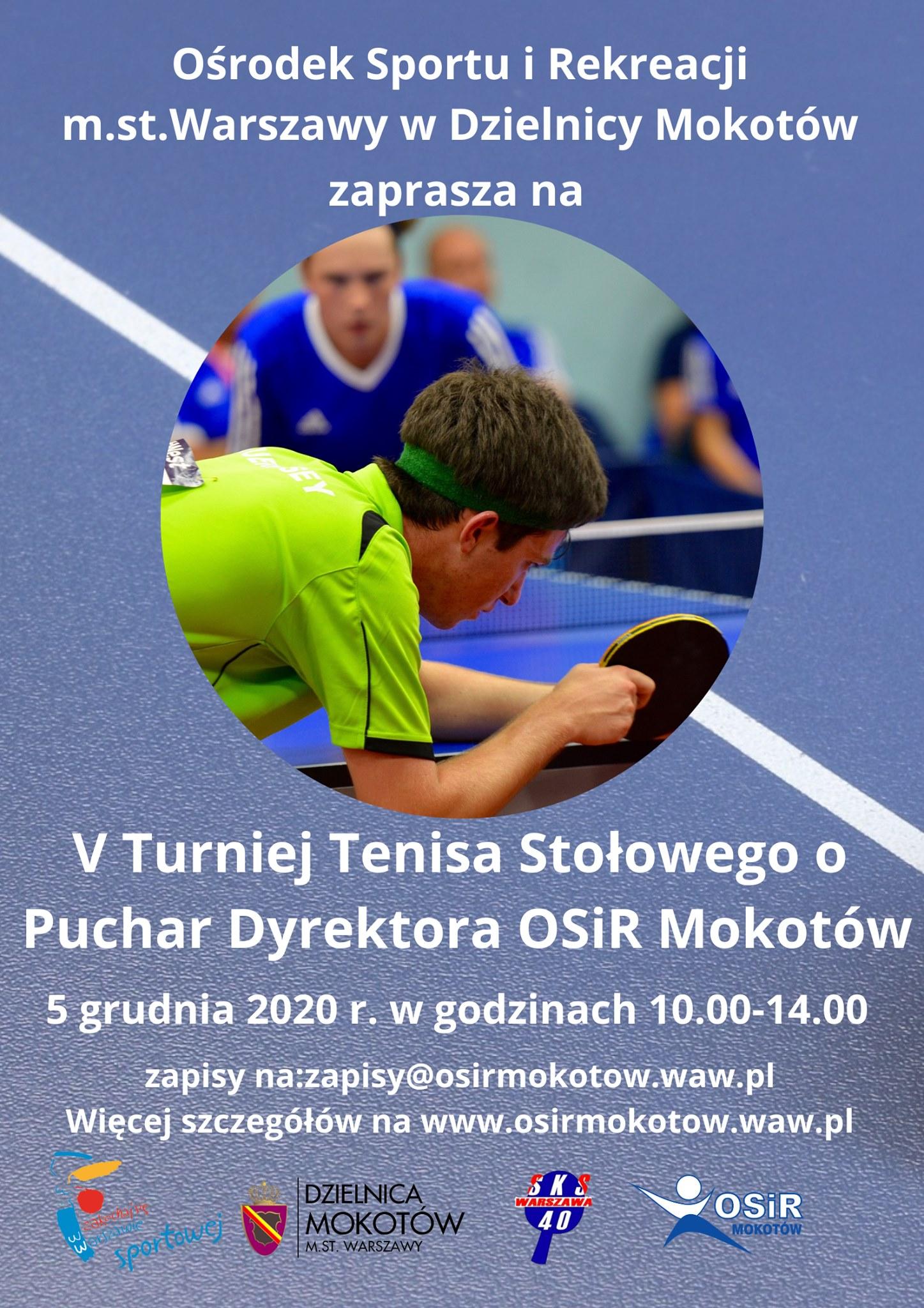 Plakat turnieju V Otwarty Turniej Tenisa Stołowego o Puchar OSiR Mokotów