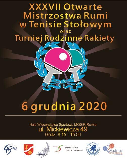 """Plakat turnieju Mistrzostwa Rumi w Tenisie Stołowym oraz Turniej """"Rodzinne Rakiety"""""""