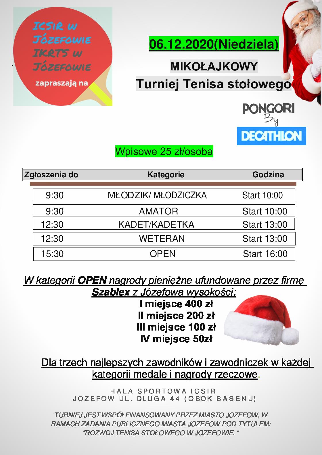 Plakat turnieju Mikołajowy turniej tenisa stołowego w Józefowie