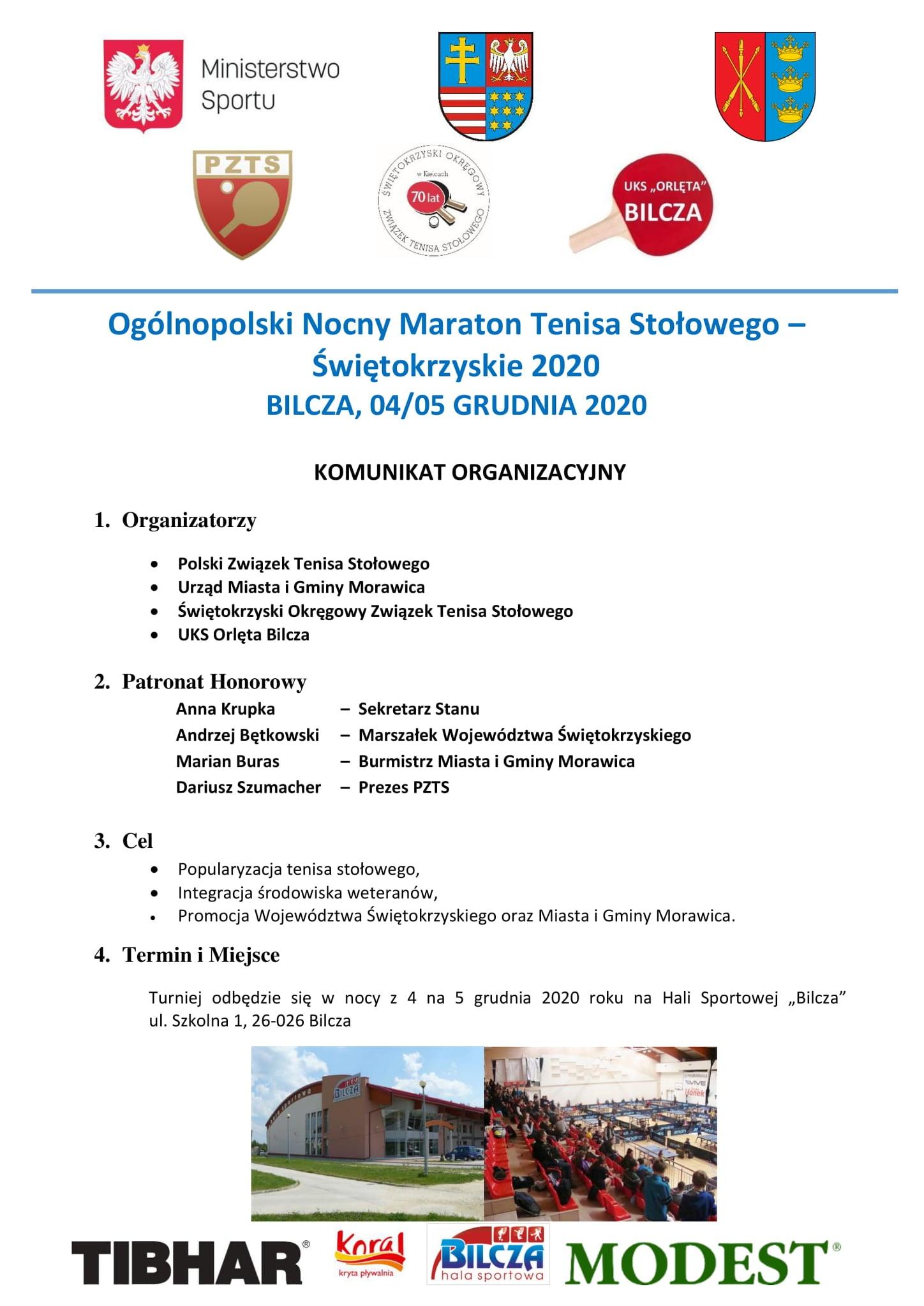 Plakat turnieju Ogólnopolski Nocny Maraton Tenisa Stołowego - Świętokrzyskie 2020