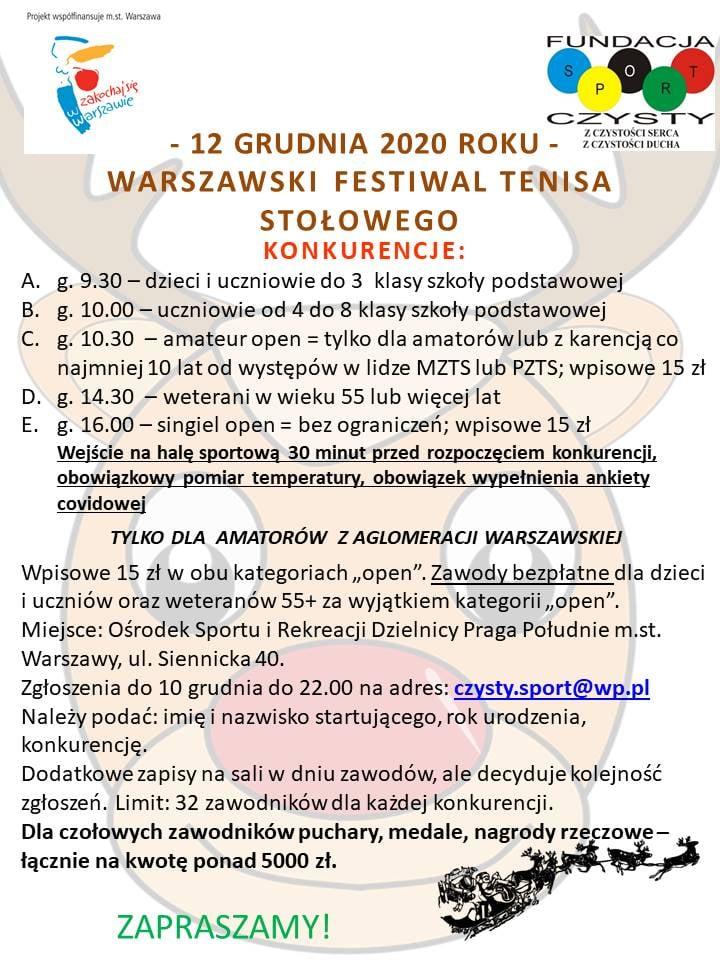 Plakat turnieju Warszawski Festiwal Tenisa Stołowego 2020 (Czysty Sport)