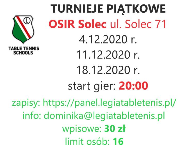 Plakat turnieju Turniej Piątkowy Legia - 6 turniej (FINAŁ CYKLU)