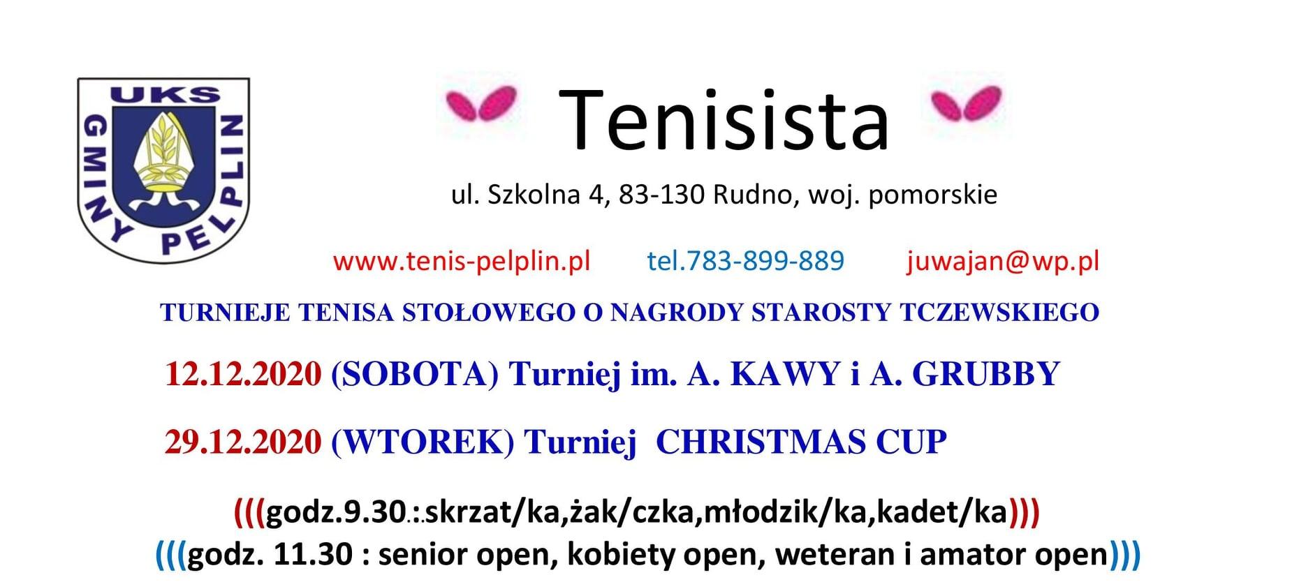 """Plakat turnieju Turniej im. A. KAWY i A. GRUBBY - """"Tenisista""""- O NAGRODY STAROSTY TCZEWSKIEGO"""