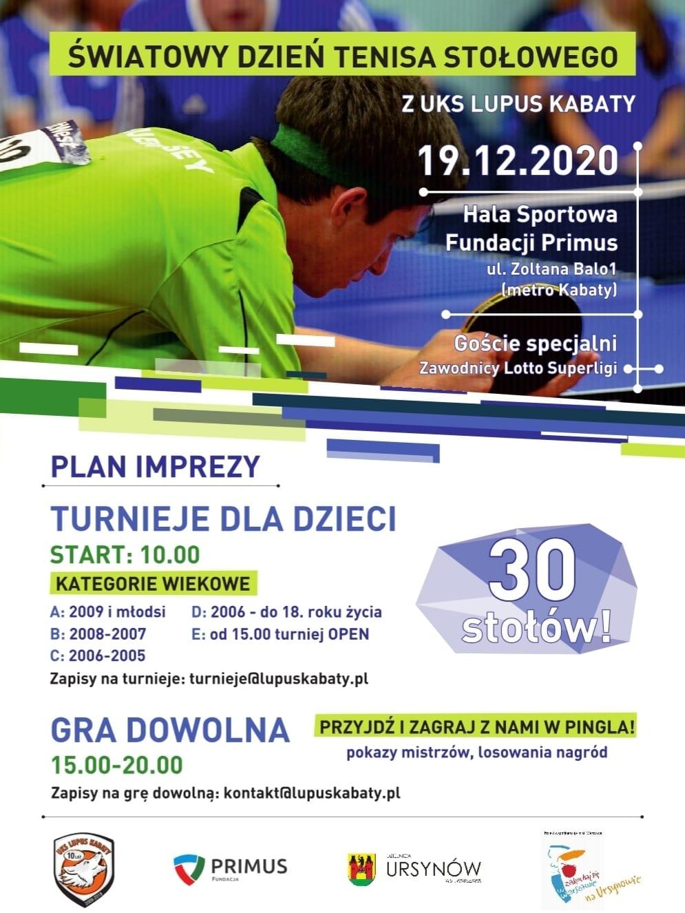 Plakat turnieju Światowy dzień tenisa stołowego z UKS Lupus Kabaty