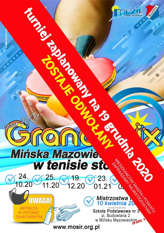 Plakat turnieju Grand Prix Mińska Mazowieckiego w tenisie stołowym w sezonie 2020/2021 - termin 3